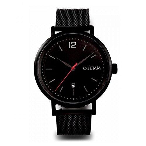 Otumm Mesh Reloj Hombre Negro Calendario Manillas Rojas 43 mm Unisex Mesh Reloj