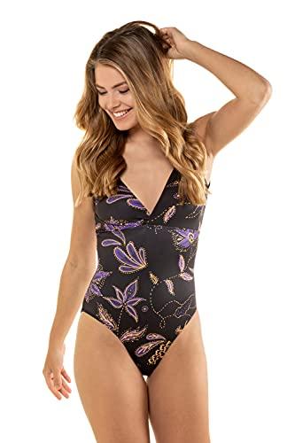 GINA LAURA Damen Badeanzug, Blütenmuster, doppelter V-Ausschnitt Multicolor L 725574 90-L