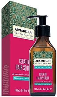 Arganicare Keratin Repairing Hair Serum with Certified Organic Oil of Argan and Keratin for all hair types 3.3 fl oz