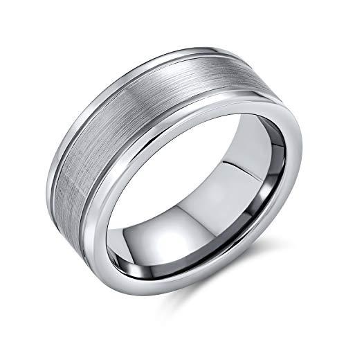 Bling Jewelry Simple Mate Centro Rayas Parejas Titanium Anillo de Boda para Hombres para Mujeres Tono Plata Comodidad Ajuste 8MM