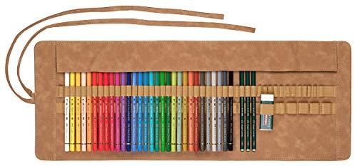 Faber-Castell 110030 - Polychromo Farbstift Polychromos, 30er Set mit Stifterolle aus Leder und Zubehör, wasserfest, bruchsicher, für Profis und Hobbykünstler, bunt