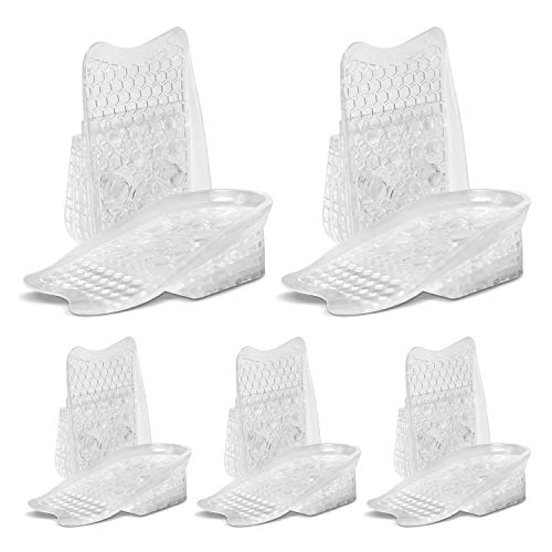 Sky Risers - Height Increase Insoles (5 Pairs) 4 Layer Silicone Gel Heel Cushion Pads Inserts, Increased Height Shoe Inserts for Men & Women with Advanced Comfort & Ergonomics
