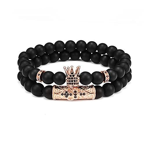 2 piezas Pulseras de cobre ajustables trenzadas con corona de lujo para hombre, brazalete de cuentas negras, regalo de joyería para hombre, brazalete de moda trenzado, joyería de hip hop(corona 04)