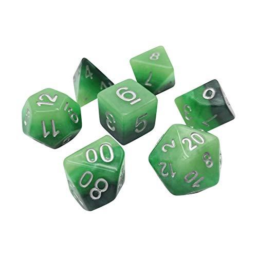 Dados colectivos D20 de jade degradado de 7 piezas para mesa RPG y juegos