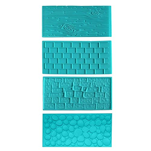4pc Plastic Embossed Icing Moulds Kits by Brick, Wood, Cobble and Pebble Stone Designs for Chocolate and Icing - Easy to Clean - Perfect for Cake Edgi