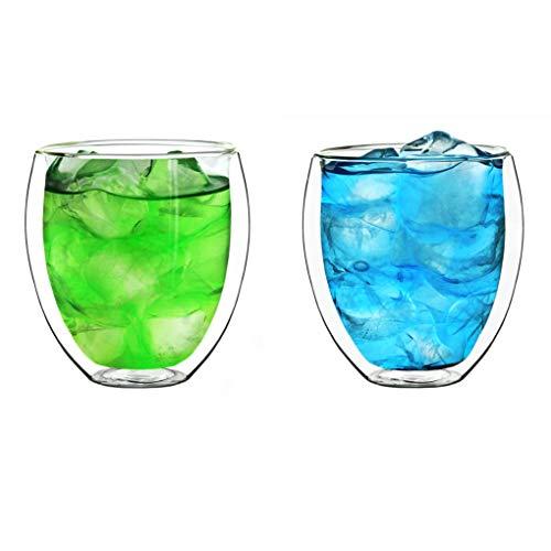 """Creano doppelwandige Gläser 400ml """"DG-Bauchig"""", 2er Set, großes Thermoglas doppelwandig aus Borosilikatglas, Kaffeegläser, Teegläser, Latte Gläser, Doppelwandgläser"""
