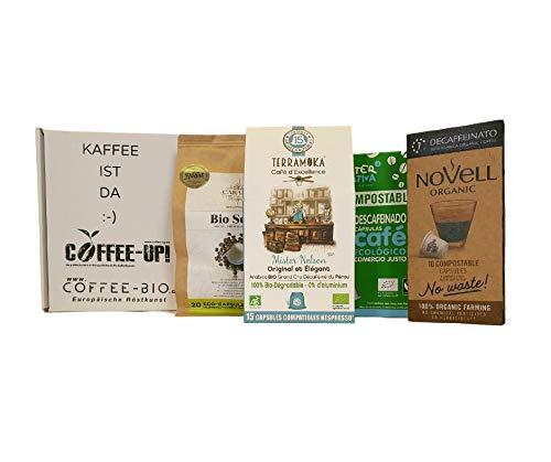 Coffee-Up-Entdeckerpaket: 55 kompostierbare, entkoffeinierte Bio-Kaffeekapseln 4 verschiedene entkoffeinierte Sorten – kompostierbare & aluminiumfreie Bio-Kaffeekapseln, Nespresso® kompatibel