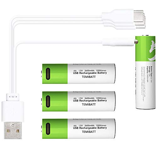 TEMIBATT USB AA Battery, 1.5V / 2600mWh Lithium AA Rechargeable Batteries, Over 1000 Cycles, 2H Fast Charging with 4-in-1 USB to Type C Cable(4-Pack, AA Battery)