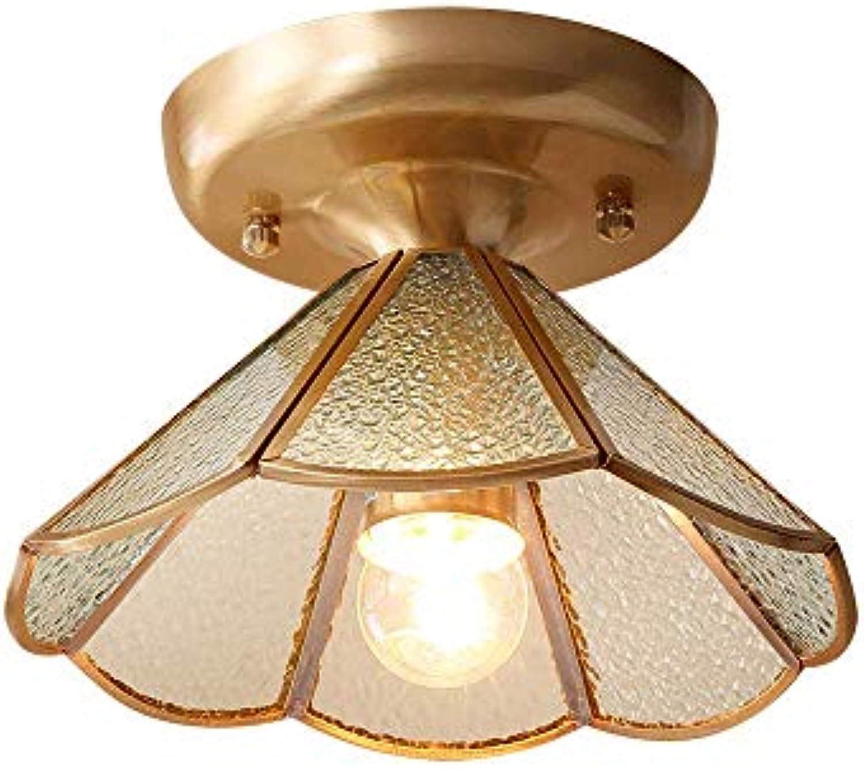 HBLJ Moderne Deckenleuchte, 1 x E27 ohne Leuchtmittel, Durchmesser 22cm, Bronzefarbene Deckenlampe Flurleuchte aus Glas und Metall für Flur Gang Wohnzimmerlampe Schlafzimmer (A)