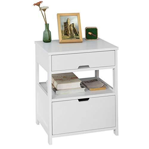 SoBuy® FRG258-W Beistelltisch Nachttisch Nachtschrank mit 2 Schubladen und 2 Ablagen, BHT ca.: 45x55x38cm