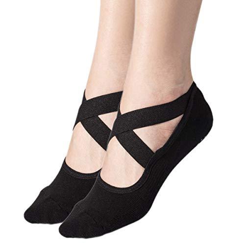 Womens 2-Pack Black Padded Anti-Slip Grips Yoga Pilates Ballet Barre PiYo Socks