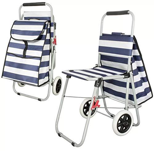 PM Einkaufstrolley 2-in-1 Special Edition mit ausklappbaren Sitz und viel Stauraum