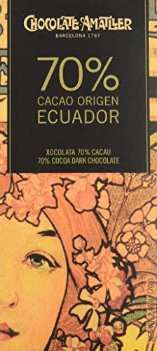 Chocolate Amatller - Tableta de chocolate (70% cacao Ecuador) - 30 tabletas de 70 gr. (Total 2100 gr.)