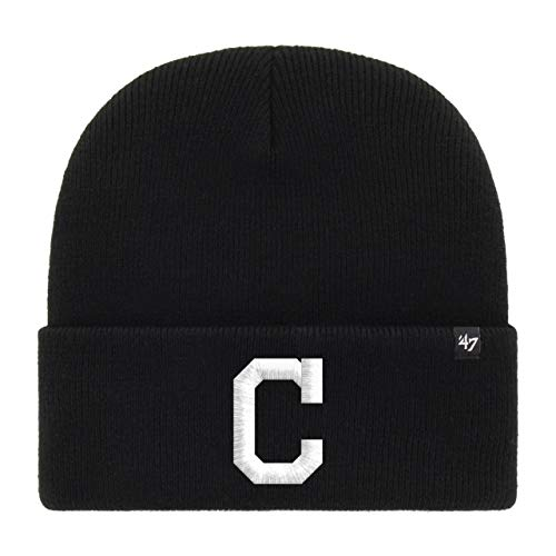 47 Brand Cleveland Indians Black Haymaker MLB Cuff Knit Beany Beanie One Size Forty Seven