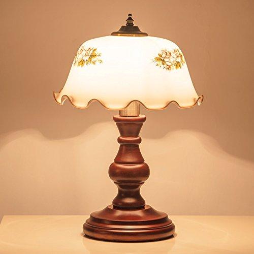 motes uvar Vintage–Madera maciza decorativa Lámpara American Country Style Europea Bedroom cama Proyección Fácil Estudio, button wechseln, elegante lampe led - licht