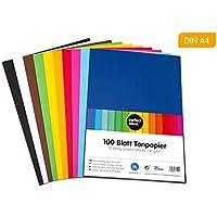 perfect ideaz Papel tintado A4 100 hojas de colores, en 10 colores diferentes, grosor de 130g/m², Papel para manualidades de la mayor calidad