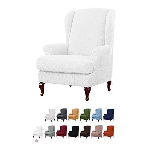 YMOMG Sessel-Überwürfe Ohrensessel Überzug BEZUG Sesselhusse Elastisch Stretch Husse Für Ohrensessel 2-teiliger Sesselbezug Möbelschutzbezug, 1 Sofabezug Mit Elastischem Boden (Reines Weiß)