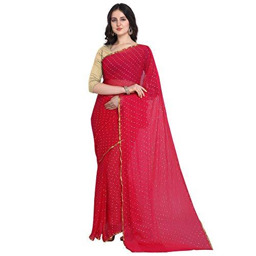 ANNI DESIGNER Women's Chiffon Embellished Saree with Blouse Piece
