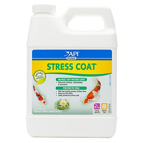 API POND STRESS COAT Water conditioner, Makes tap water safe, replaces protective coat damaged by handling & fish fighting, Use when adding or changing water, when adding fish, when fish are injured