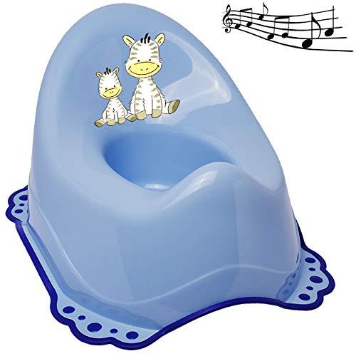 alles-meine.de GmbH Musik & Sound - Anti RUTSCH - Töpfchen / Nachttopf / Babytopf - blau _ Tiere - Zebra _ Bieco - Melody - mit großer Lehne + Spritzschutz - rutschfest antirutsc..