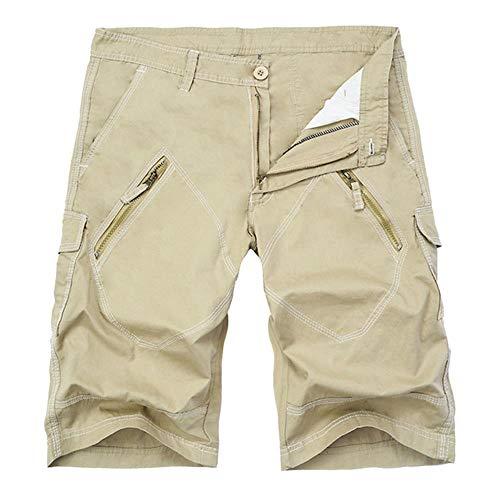 PLXX Sports Pants Kordelzug Overalls Shorts Männer Shorts Strand Sommer Casual Sports Pants Männer Jogger Solid Color Sports Pocket Cargo, Khaki, 40