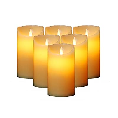 HIFROM Flameless Candles, Set of 6 Ivory Real Wax Pillars Realistic Dancing Moving LED Flames Candle Set