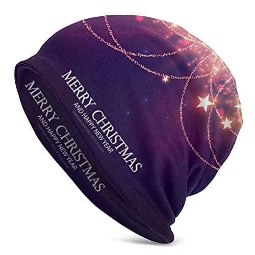 Decoración de año Nuevo con guirnaldas Doradas y Luces Brillantes Gorro para Hombre y Mujer Sombreros cálidos de Invierno
