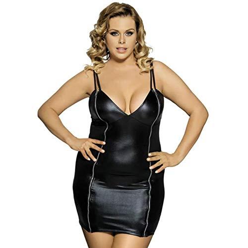Sexy Leder Frauen Latex Bodycon Kleid Weibliche Bodysuit Plus Size Jumpsuit Erotik Catsuit Doppelreißverschluss Front Neckholder Tops Trikot