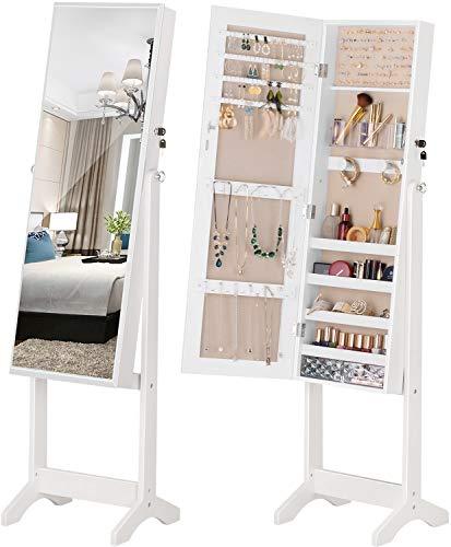 LUXFURNI Gabinete de joyería con luz LED de pie, Pantalla Completa, Espejo, Maquillaje (Off-White)