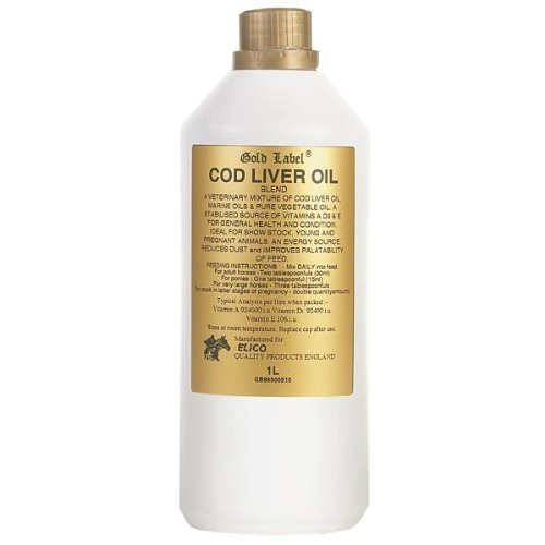 William Hunter Equestrian Gold Label Cod Liver Oil Horse Supplement 1 Litre - for General Health and Condition as Well as an Energy Source by