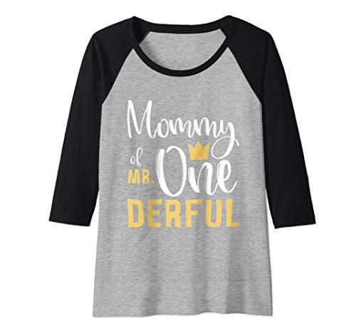 Womens Mommy of Mr Onederful 1st Birthday First One-Derful Matching Raglan Baseball Tee