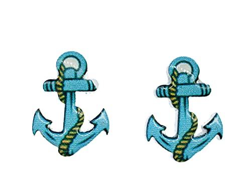Miniblings Pendientes ancla de la nave del mar del oceano del ancla del barco de vela azul - hechos a mano pendientes de joyería de moda pendientes tapo