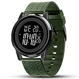 YUINK Mens Watch Ultra-Thin Digital Sports Watch Waterproof Stainless Steel Fashion Wrist Watch for Men Women (Black Green)