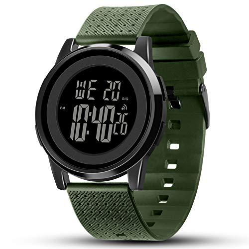 YUINK Mens Watch Ultra-Thin Digital Sports Watch Waterproof Stainless Steel Fashion Wrist Watch for...