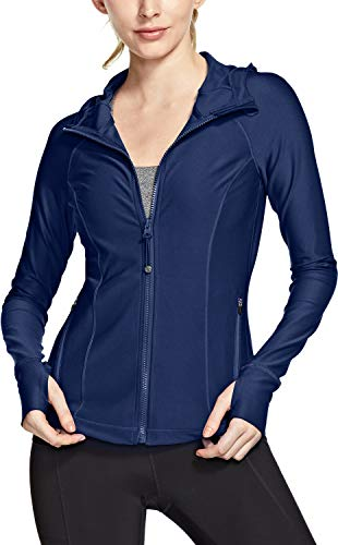 TSLA Women's Yoga Lightweight Active Performance Running Track Jacket, Full Zip Hoodie(fyj02) - Navy, X-Small