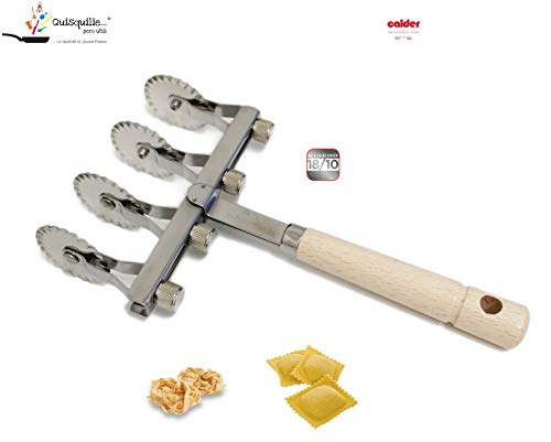 Calder Tagliapasta Ravioli Regolabile con 4 Lame Festonate in Acciaio Inox 100% Made in Italy