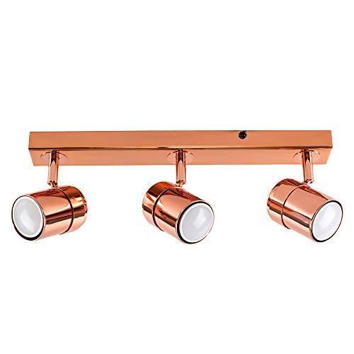 MiniSun - Moderna Lámpara de Techo - Regleta de 3 Focos Ajustables – Color Cobre Pulido