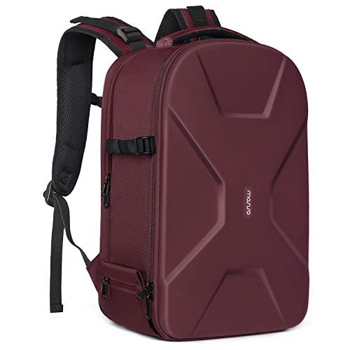 MOSISO Camera Backpack,DSLR/SLR/Mirrorless Photography Camera Bag Waterproof Hardshell Protective Case with Tripod Holder&Laptop Compartment Compatible with Canon/Nikon/Sony/DJI Mavic Drone, Wine Red
