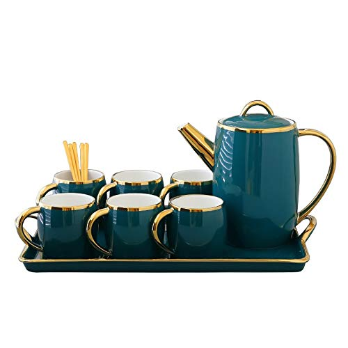 WLLL 6 X 7.1 oz Cappuccino Cups & Coffee Service Set, Koffie Tray en Mok, 6 * Spoon, 1 * Cappuccino Cup (Color : Green)