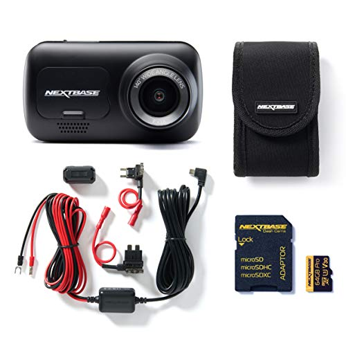 Nextbase 222 Full 1080p HD In Car Dash Cam Camera Full 720p/30fps HD Recording DVR Cam - 120° Wide Viewing Angle, Bundle Kit with Mount, Hardwire Kit, 64GB SD Card and Case Included