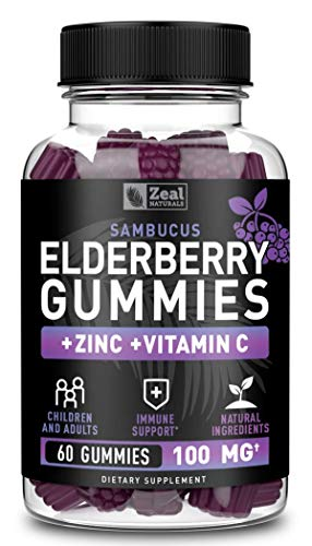 Sambucus Elderberry Gummies for Kids & Adults (60 Count | 100mg) w/ Coconut Oil, Vitamin C, and Zinc Supplement Immune Support Gummies for Kids & Adults
