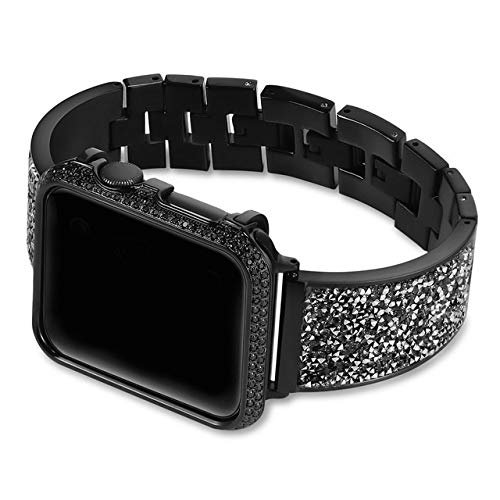 Fashion Compatible with Apple Watch Bands 38mm 40mm 42mm 44mm, Luxury Diamond Case+strap Replacement strap Compatible for Iwatch Series 5/4/3/2/1 Non-slip (Band Color : Black, Band Width : 42mm)