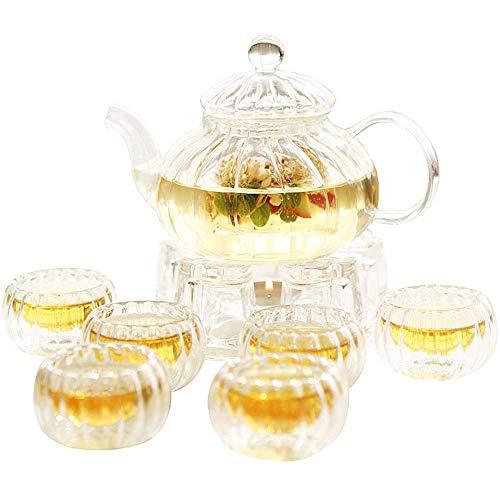 Xingyu Teeset, doppellagig, Teetassen und Teekanne mit Kerzenwärmer, transparentes Glas, Blumendesign, für 6 Personen, für Haushalt (Farbe: transparent, Größe: 8 Stück), farblos, 8 Stück