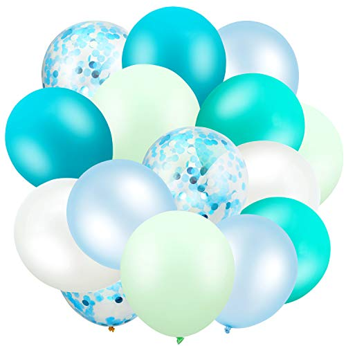 60 Stücke 12 Zoll Achat Latex Luftballons Konfetti Luftballons Bunte Luftballons für Jungle Baby Shower Hochzeit Büro Geburtstag Party (Aqua, Türkis, Cyan, Mintgrün)