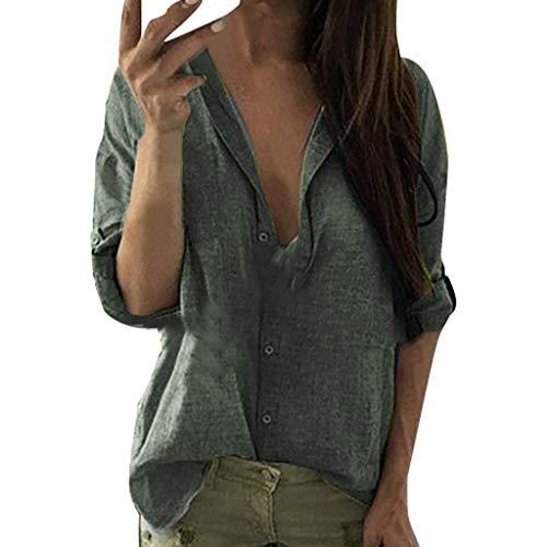 Zylione Damen Casual Bluse Langarmshirt Knopfleiste Blusen Tief V-Ausschnitt mit Knopf Business Hemd Umlegekragen Herbst Tops Reverskragen Tunika Hemdbluse