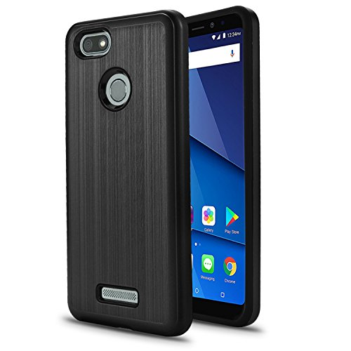BLU Vivo XL3 case, (V0250WW) 5.5 inch case, [ New Frontier Wireless], Tough Hybrid + Dual Layer Shockproof Drop Protection Metallic Brushed Case Cover for BLU Vivo XL3 case (VGC Black)