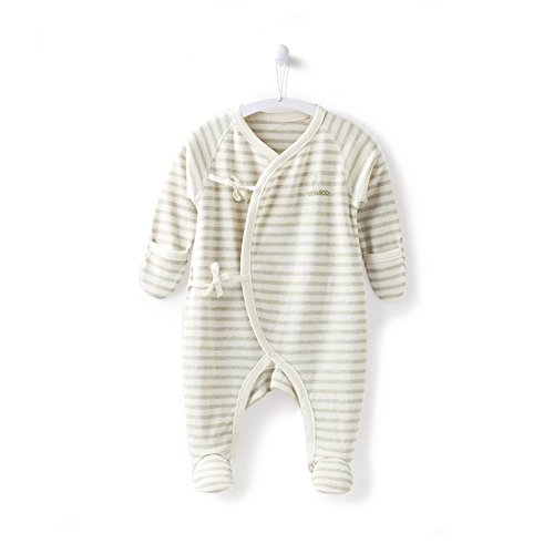 COBROO 100% Cotton Newborn Footie Sleepers Pajamas with Mitten Cuffs Long Sleeves Ties Closure Baby Girl/Boy Outfits Green