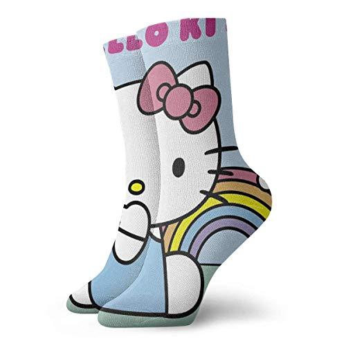 Calcetines de compresión para hombre, diseño de Hello Kitty con arco iris