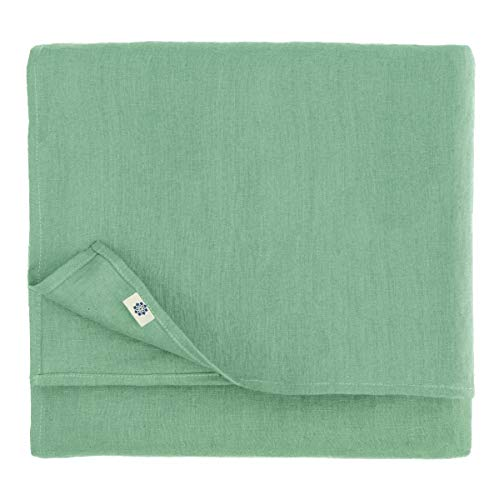 Linen & Cotton Mantel de Mesa de Centro Paño de Mesa Decoración de Comedor Hygge - 100% Lino, Verde Menta (80 x 80 cm) Cubierta de Mesa Cuadrada Pequeña para Hogar Cocina Cena Navidad