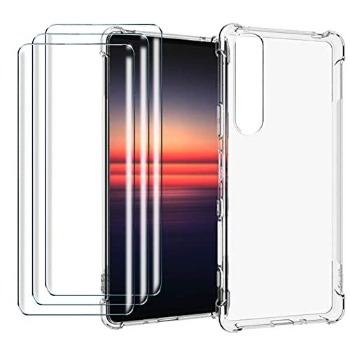 LYZX para Sony Xperia 1 III Funda + 3Pcs Cristal Templado, Premiun Carcasa Transparente Trasera con Protector de Pantalla Case Cover para Sony Xperia 1 III, Clear